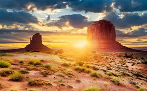 Picture the sun, light, desert, Utah, USA, Monument valley, Arizona, geological formation