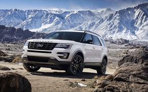 Picture mountains, stones, Ford, Sport, Explorer, 2015, XLT