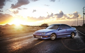 Picture the sky, blue, Honda, sedan, Honda, blue, Sedan, Acura, Acura, Integra, Integra