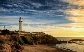 Picture sea, beach, shore, lighthouse
