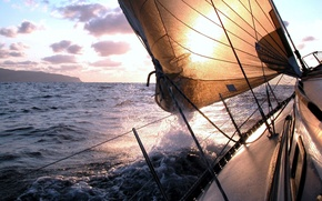 Picture sea, wave, the sky, foam, water, squirt, the ocean, the wind, widescreen, mood, boat, landscapes, …