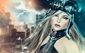 Picture look, girl, fragments, rendering, hair, blonde
