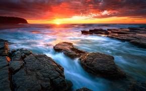 Picture sea, water, the sun, sunrise, rocks, beach, sea, water, rocks, Sydney, Seascape, Rising sun, Turimetta, …