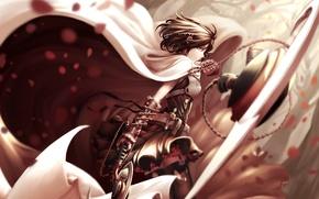 Wallpaper girl, weapons, anime, petals, art, chain, cloak, rwby, ruby rose, dishwasher1910