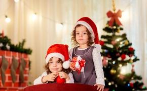 Picture children, gift, hat, tree, New year, Christmas, New Year, Gemini, gift, Holidays, children, little girls, ...