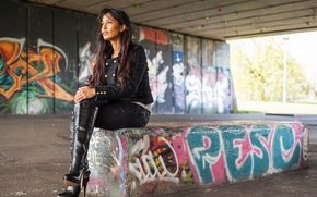 Picture girl, face, style, graffiti, model, clothing, hair, boots, the tunnel
