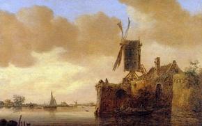 Picture house, boat, sail, windmill, Jan van Goyen, River Landscape