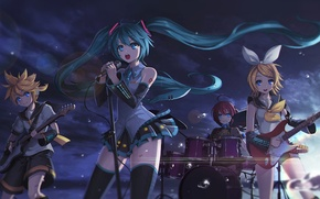 Picture the sky, clouds, drops, sunset, girls, guitar, group, anime, art, microphone, guy, vocaloid, hatsune miku, ...
