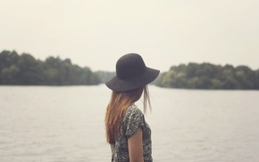 Picture girl, hat, lake, hair