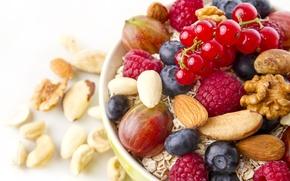 Picture berries, nuts, muesli, Breakfast