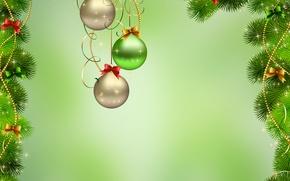 Wallpaper background, balls, spruce, year, new, ukrashena