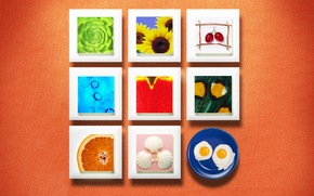 Wallpaper squares, texture, wall, food