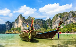 Picture Nature, Clouds, Rock, Boats, Thailand, Krabi Province