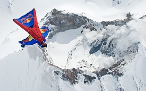 Picture winter, snow, smoke, mountain, the volcano, parachute, container, pilot, Red Bull, fly, pilot, extreme sports, …