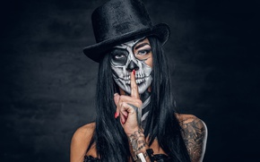 Picture hat, brunette, makeup, finger, day of the dead