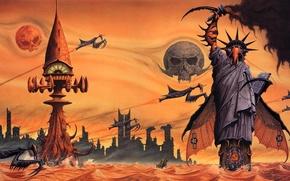 Picture Skull, Fantasy, The Statue Of Liberty, Art, Rendering, The Hammer and sickle, Praying mantises, Alternate …