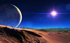Picture the sky, stars, mountains, planet, satellite