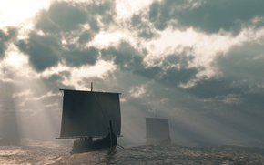 Wallpaper Boats, The sky, Water, sail