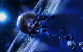 Picture cosmos, planet, meteorites, rocks floating