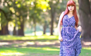 Picture summer, look, girl, Park, dress, redhead, blue-eyed