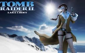 Picture winter, snow, gun, glasses, Lara Croft, coat, Lara Croft, Tomb Raider II