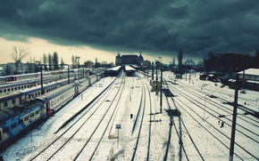 Wallpaper trains, clouds, wire, loneliness, winter, station, railroad