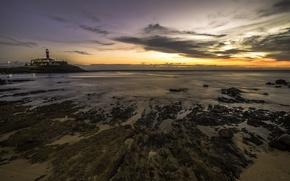 Picture beach, sunset, horizon, Brazil, Salvador, Baja, Barra Lighthouse
