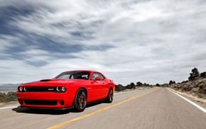 Picture Road, Speed, Dodge, Challenger, Muscle Car, 2015, SRT Hellcat