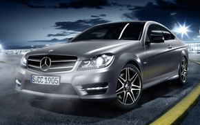 Picture night, coupe, mercedes-benz, Mercedes, the front, serebrisky, sport coupe, c250