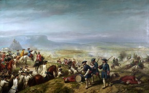 Picture landscape, mountains, picture, soldiers, battle, Ricardo Balaka, The battle of Almansi