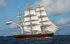 Picture sea, sailing ship, сlipper, Stad Amsterdam