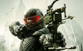 Picture trees, weapons, home, New York, bow, soldiers, devastation, arrow, leaves, nanosuit, Crytek, Crysis 3