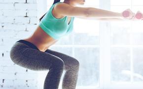 Wallpaper Fitness, buttocks, legs, dumbells, gym, workout