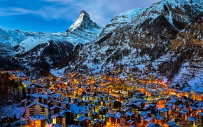 Picture winter, snow, mountains, lights, the evening, Switzerland, village, Alps, Zermatt