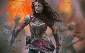 Picture girl, hair, armor, battle, art, enemies, green eyes. look. armor