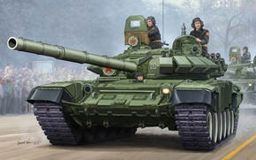 Picture protection, gun, art, artist, tank, USSR, Russia, installation, caliber, MBT, T-72, contact, option, THE T-72A, …