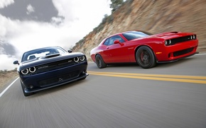 Picture The sky, Road, Mountains, Speed, Optics, Dodge, Challenger, Hellcat, SRT, Hemi, Muscle Car, Duo