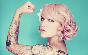 Picture woman, lips, pin-up, tattoos, direct gaze, feminism