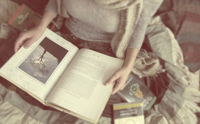 Picture girl, mood, books, reading, soft lovers and hard covers