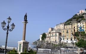 Wallpaper sea, mountains, home, Italy, resort, column, Campaign, Minori