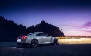 Picture GTR, Moon, Nissan, Sky, Lights, White, R35, Vossen, Wheels, Rear, Nigth