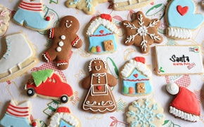 Picture machine, letter, holiday, hat, tree, new year, cookies, man, house, figures, snowflake, cookies, marzipan
