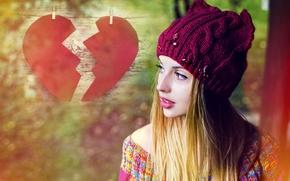Picture look, girl, hat, hair, heart, makeup, halves, heart, autumn, sweater, makeup