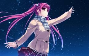 Picture girl, stars, night, smile, anime, scarf, art, miagete goran yozora no hoshi wo, hi houkiboshi