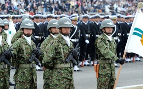 Picture weapons, gloves, Japan, camouflage, strap, power, helmet, with, holster, Machine, celebration, 9mm, banner, parade, 1st, ...