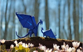 Picture flowers, flowers, dragons, blue, trees, mother, blue, forest, branch, puppy, forest, puppy, dragons, trees, bokeh, ...