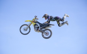 Wallpaper maneuver, FMX, Superman Double Seat Grab, rider, extreme sports, motocross, the sky, freestyle, clouds