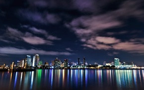Picture the sky, clouds, night, lights, lights, reflection, the ocean, building, skyscrapers, backlight, CA, USA, USA, …