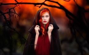 Picture sunset, portrait, makeup, hood, redhead