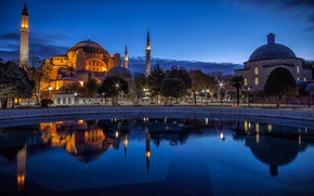 Picture light, the city, the evening, Istanbul, Turkey, Turkey, Hagia Sophia, Hagia Sophia, Istanbul, Turkey